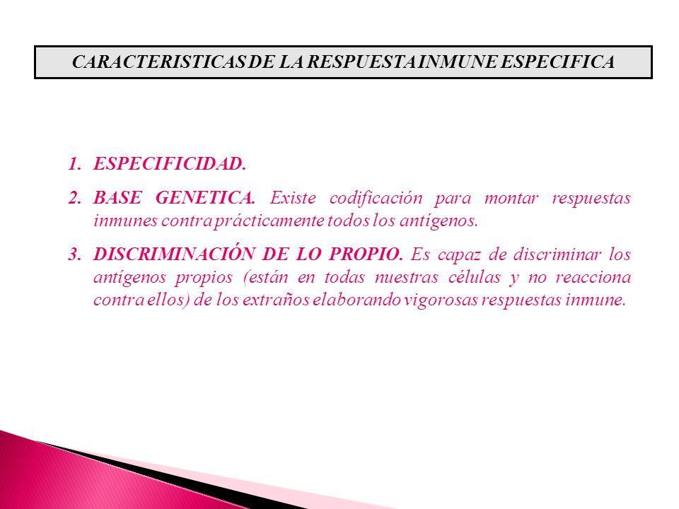 CARACTERISTICAS DE LA RESPUESTA INMUNE ESPECIFICA