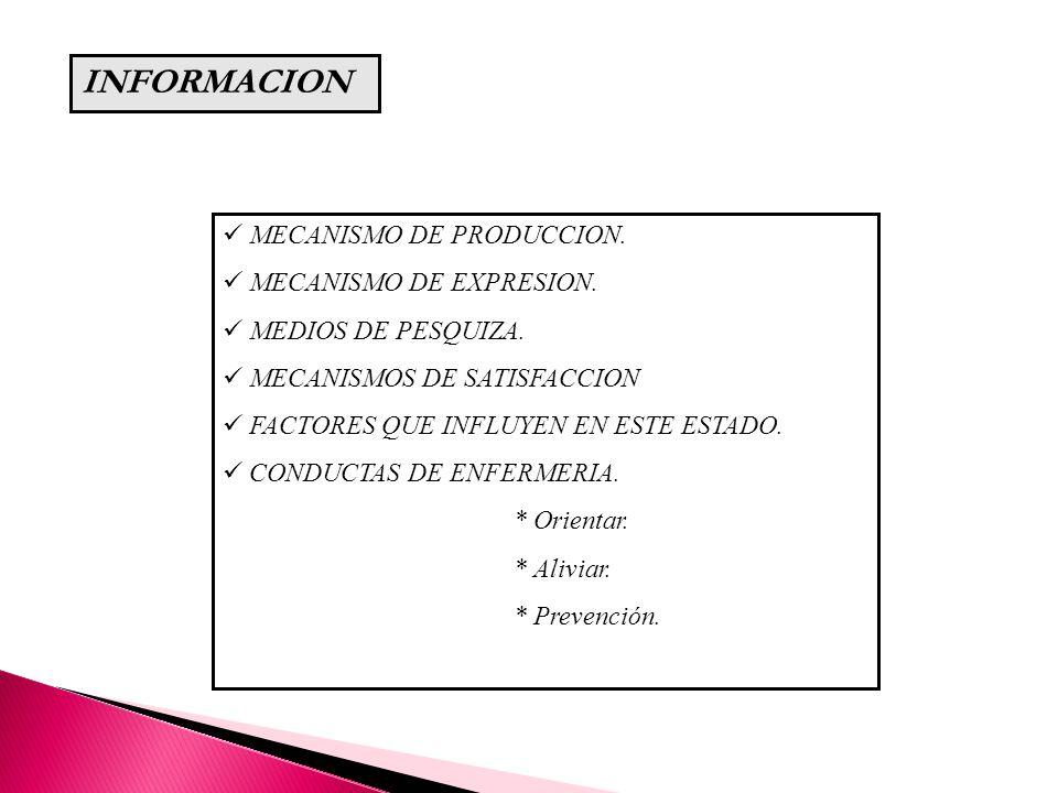 INFORMACION MECANISMO DE PRODUCCION. MECANISMO DE EXPRESION.