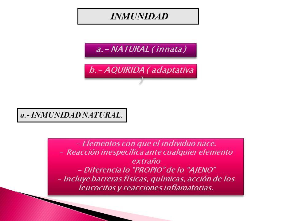 INMUNIDAD a.- NATURAL ( innata ) b.- AQUIRIDA ( adaptativa )