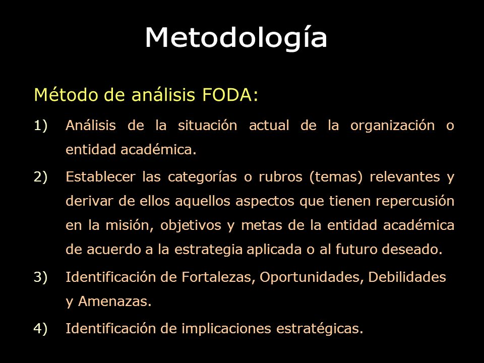 Metodología Método de análisis FODA:
