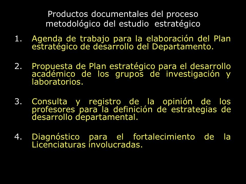 Productos documentales del proceso metodológico del estudio estratégico