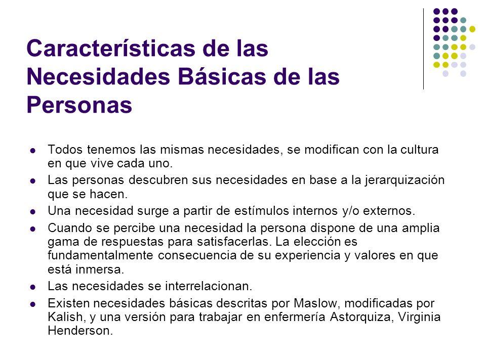 Características de las Necesidades Básicas de las Personas