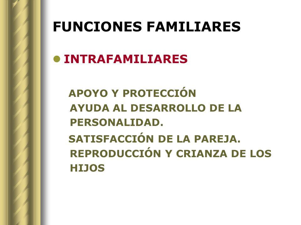 FUNCIONES FAMILIARES INTRAFAMILIARES APOYO Y PROTECCIÓN