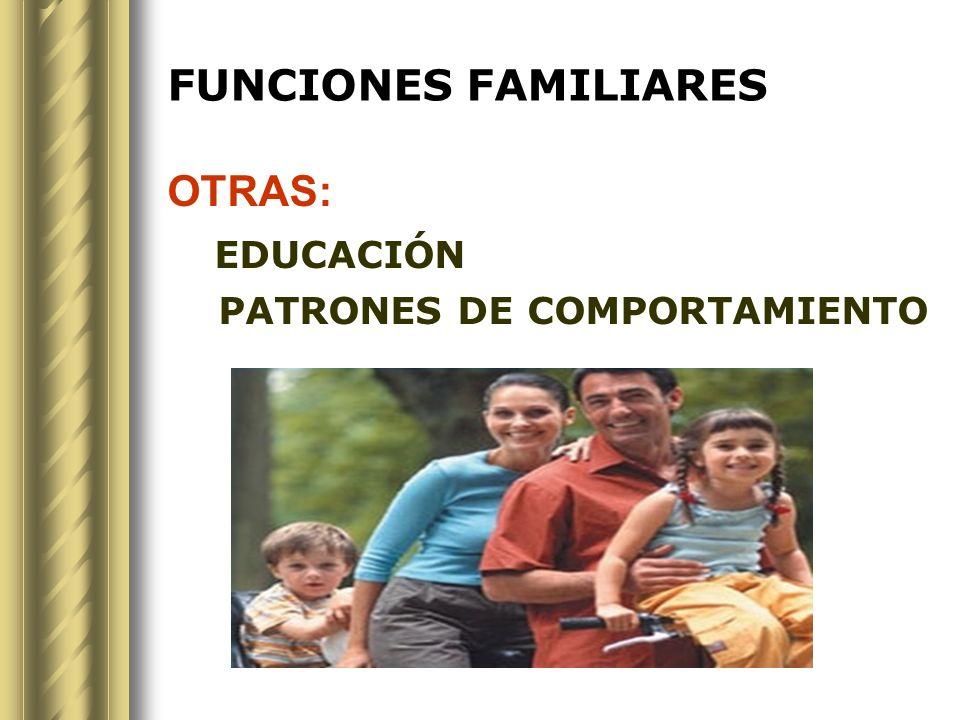 FUNCIONES FAMILIARES OTRAS: EDUCACIÓN PATRONES DE COMPORTAMIENTO