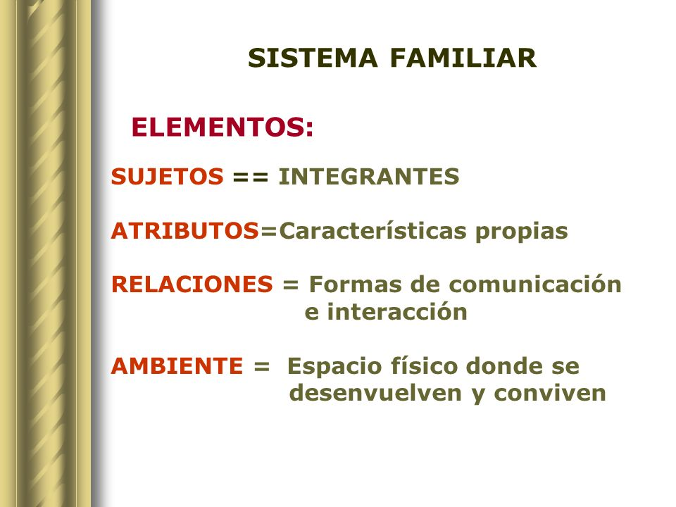 SISTEMA FAMILIAR ELEMENTOS: SUJETOS == INTEGRANTES