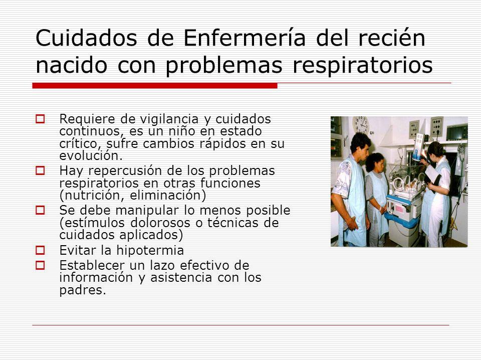 Cuidados de Enfermería del recién nacido con problemas respiratorios