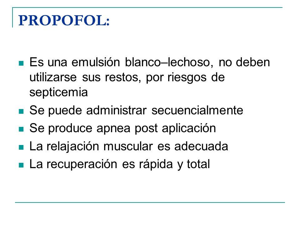 PROPOFOL: Es una emulsión blanco–lechoso, no deben utilizarse sus restos, por riesgos de septicemia.