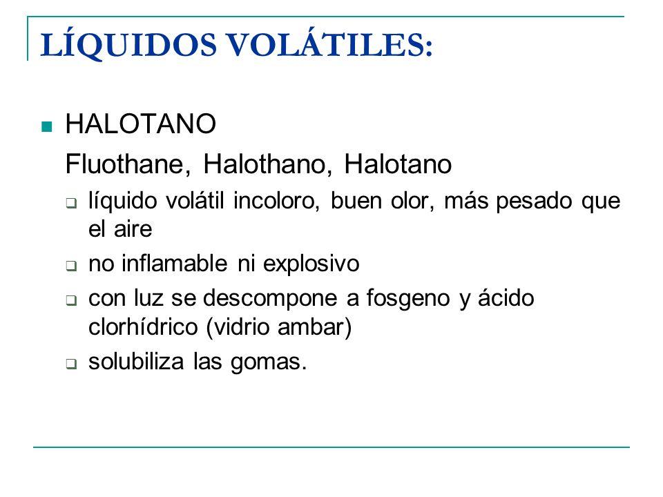 LÍQUIDOS VOLÁTILES: HALOTANO Fluothane, Halothano, Halotano