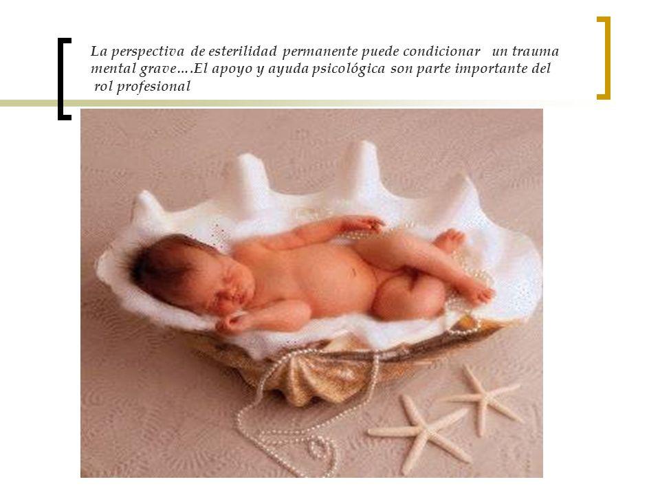 La perspectiva de esterilidad permanente puede condicionar un trauma mental grave….El apoyo y ayuda psicológica son parte importante del