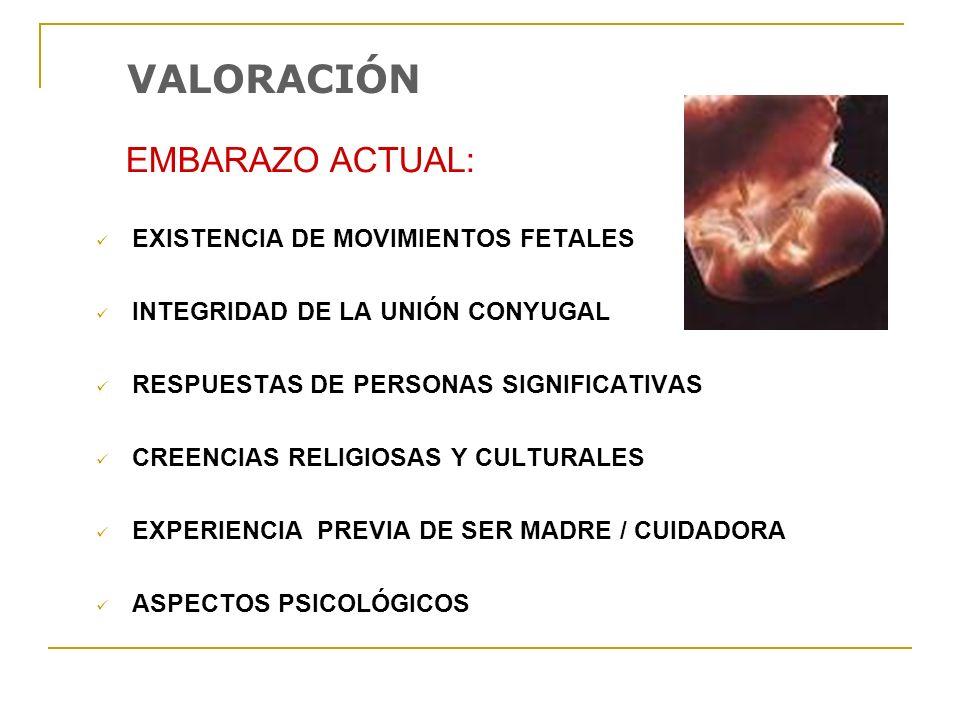 VALORACIÓN EMBARAZO ACTUAL: EXISTENCIA DE MOVIMIENTOS FETALES