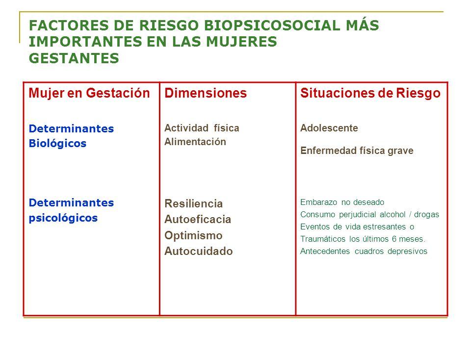 FACTORES DE RIESGO BIOPSICOSOCIAL MÁS IMPORTANTES EN LAS MUJERES GESTANTES