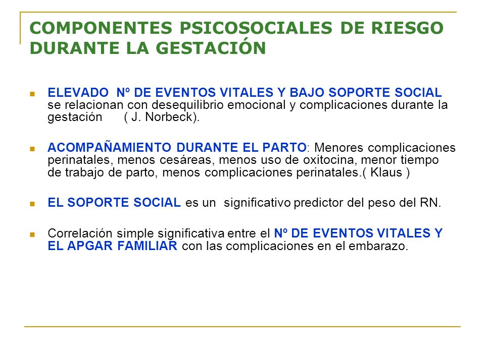 COMPONENTES PSICOSOCIALES DE RIESGO DURANTE LA GESTACIÓN