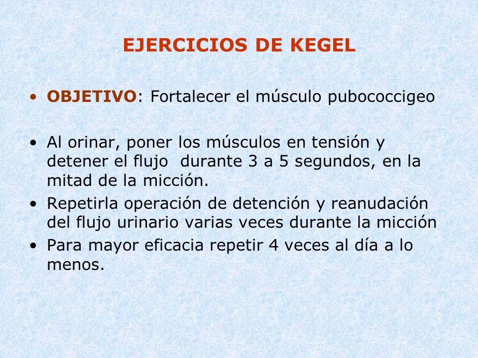 EJERCICIOS DE KEGEL OBJETIVO: Fortalecer el músculo pubococcigeo