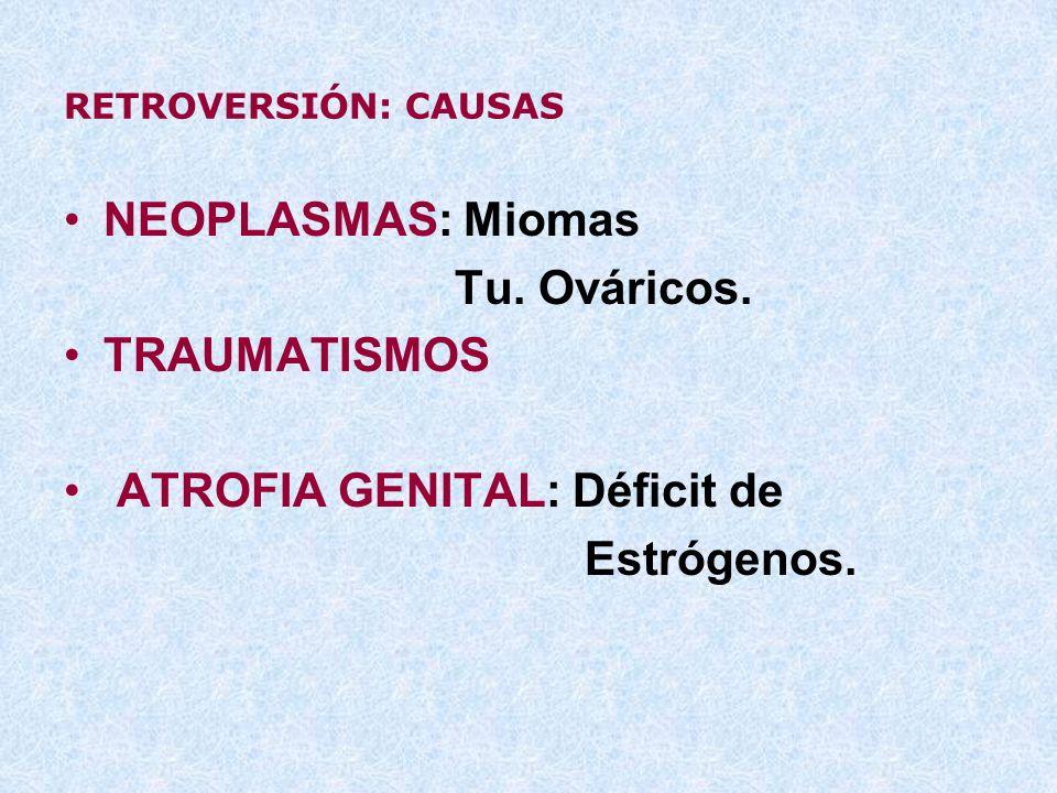 ATROFIA GENITAL: Déficit de Estrógenos.