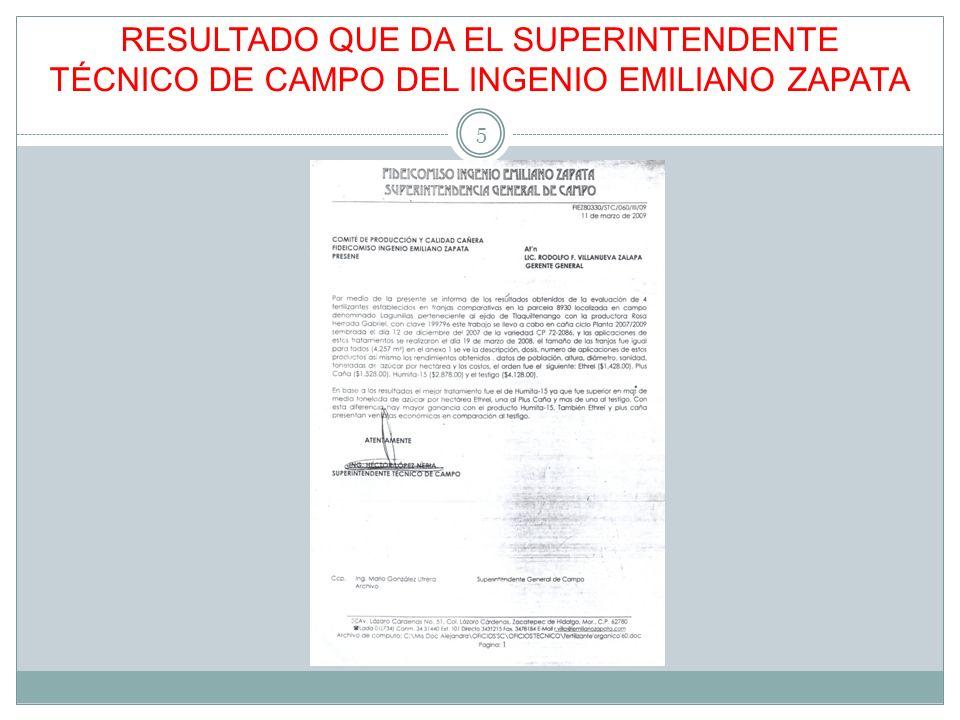RESULTADO QUE DA EL SUPERINTENDENTE TÉCNICO DE CAMPO DEL INGENIO EMILIANO ZAPATA