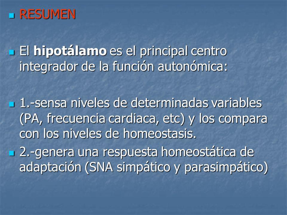 RESUMEN El hipotálamo es el principal centro integrador de la función autonómica: