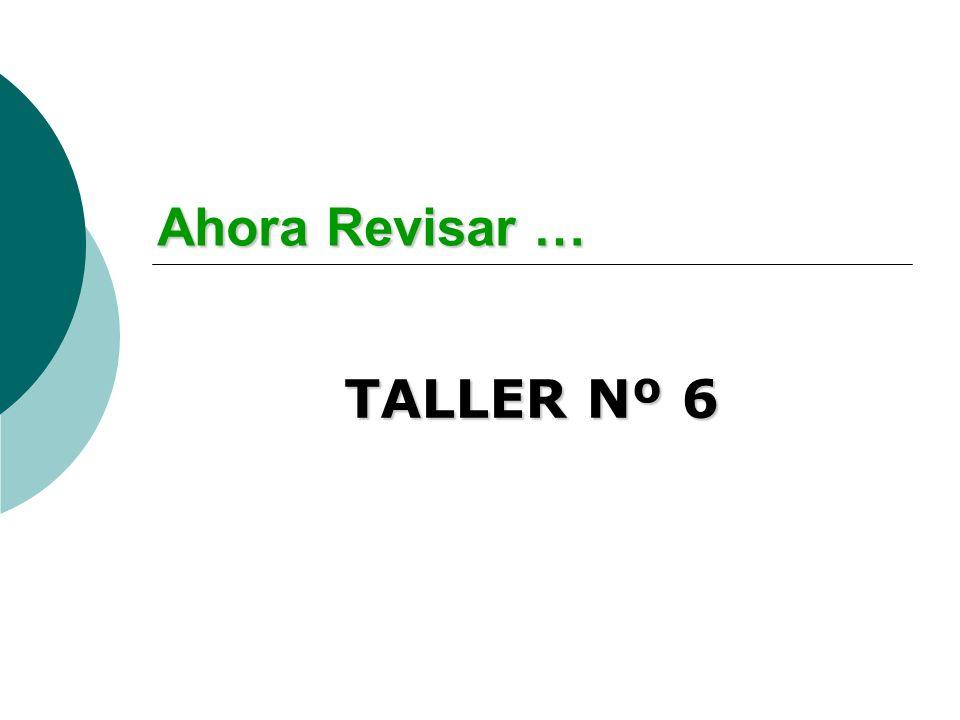 Ahora Revisar … TALLER Nº 6