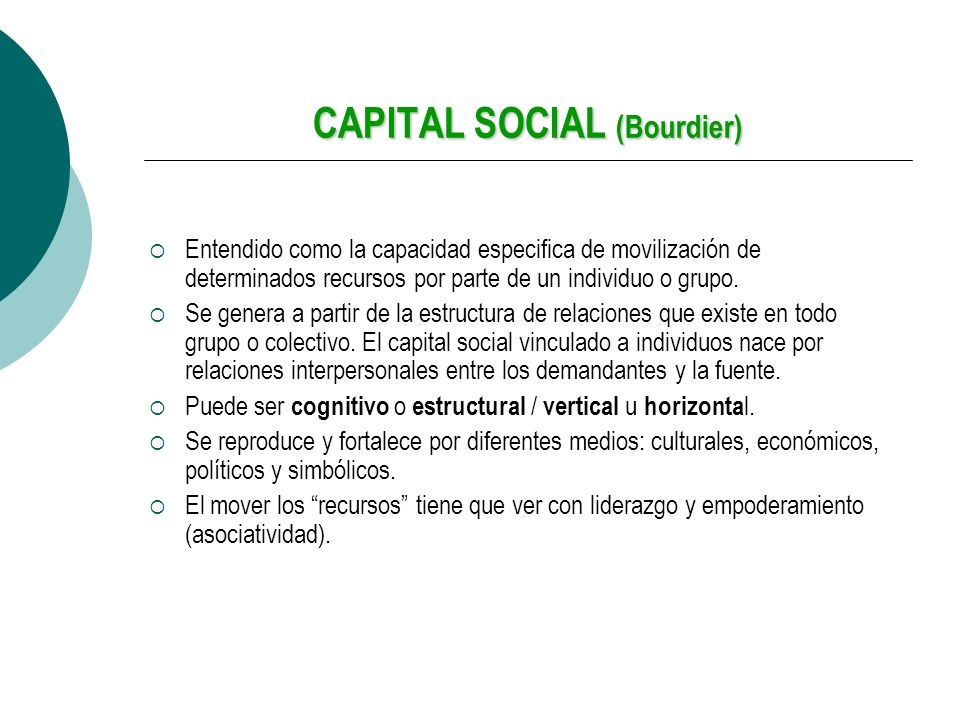 CAPITAL SOCIAL (Bourdier)