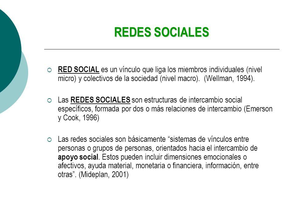 REDES SOCIALES RED SOCIAL es un vínculo que liga los miembros individuales (nivel micro) y colectivos de la sociedad (nivel macro). (Wellman, 1994).