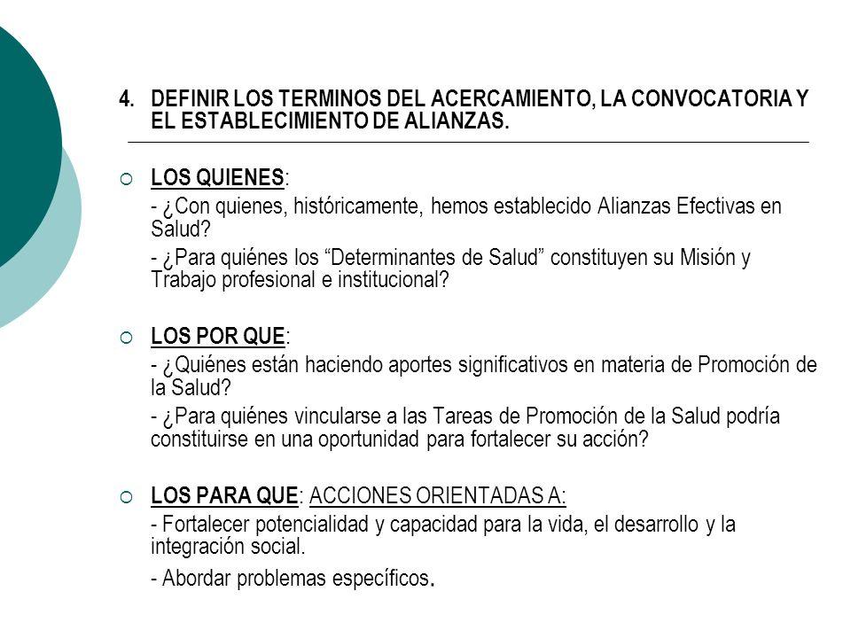 4. DEFINIR LOS TERMINOS DEL ACERCAMIENTO, LA CONVOCATORIA Y EL ESTABLECIMIENTO DE ALIANZAS.