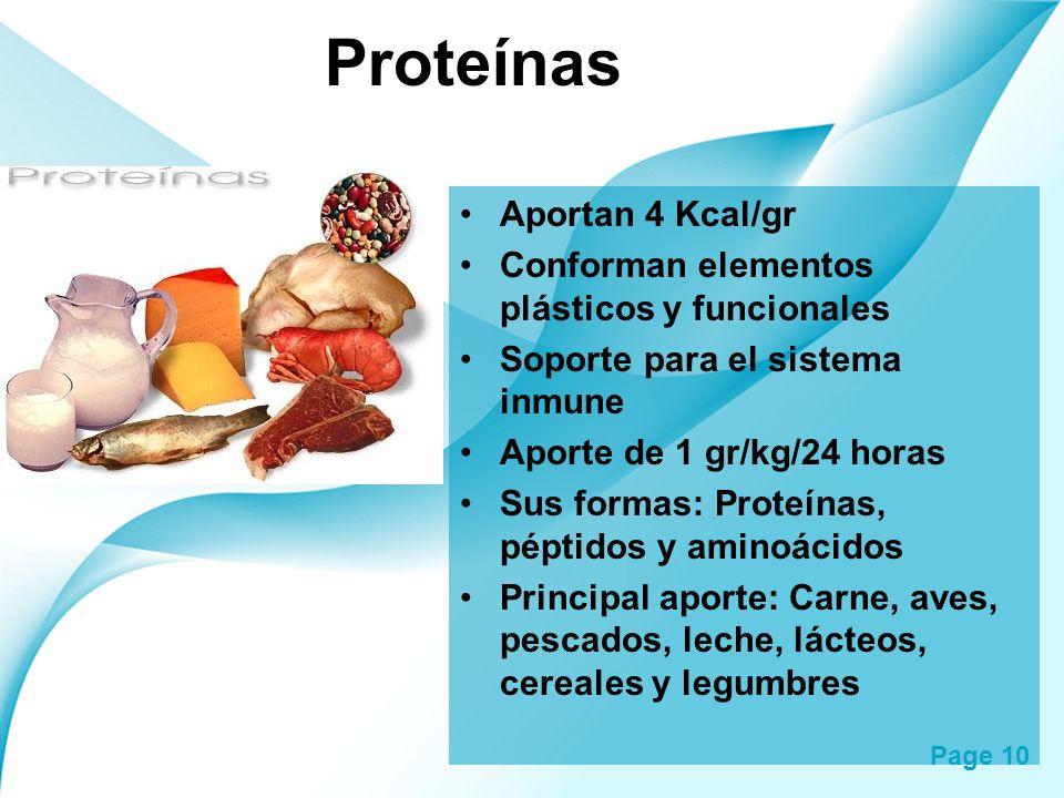 Proteínas Aportan 4 Kcal/gr