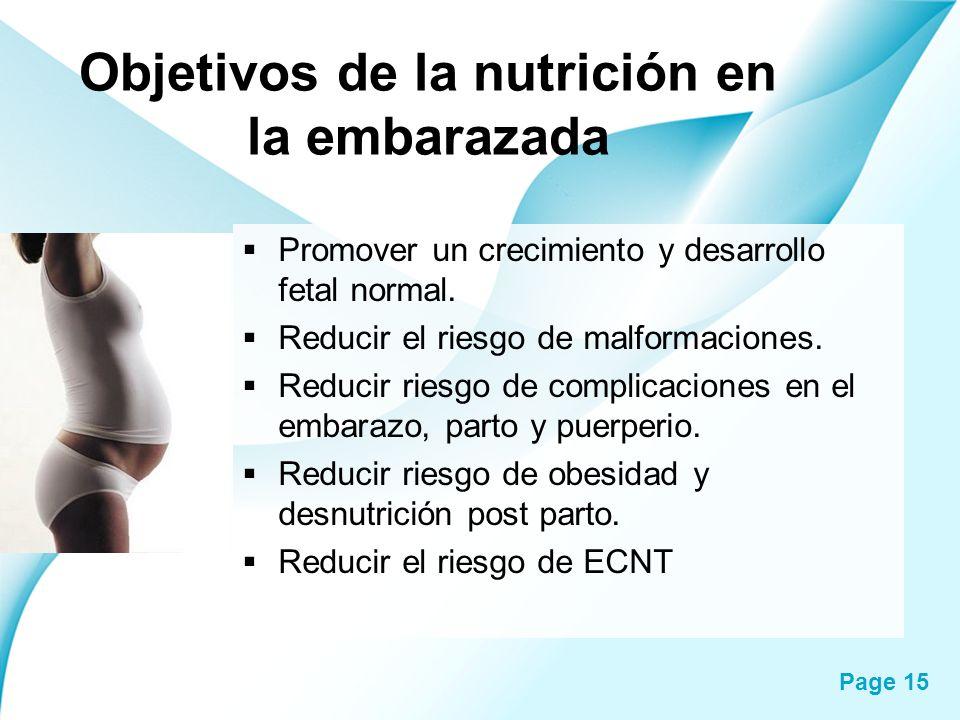 Objetivos de la nutrición en la embarazada