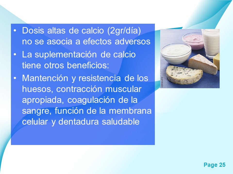 Dosis altas de calcio (2gr/día) no se asocia a efectos adversos