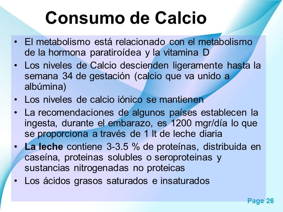 Consumo de Calcio El metabolismo está relacionado con el metabolismo de la hormona paratiroídea y la vitamina D.