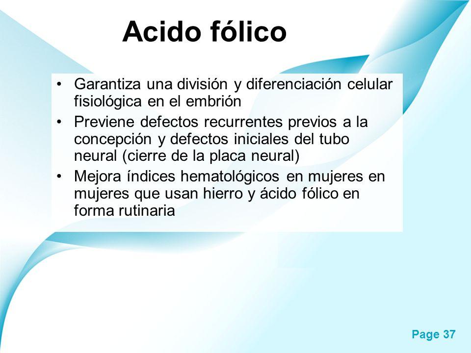 Acido fólico Garantiza una división y diferenciación celular fisiológica en el embrión.