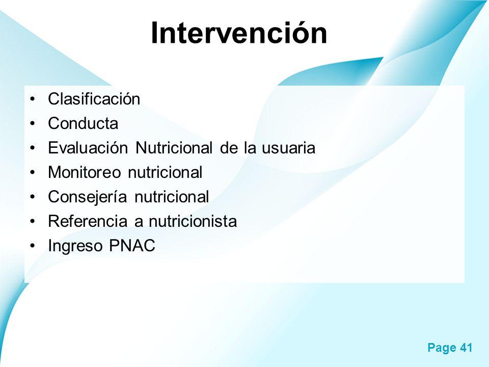 Intervención Clasificación Conducta