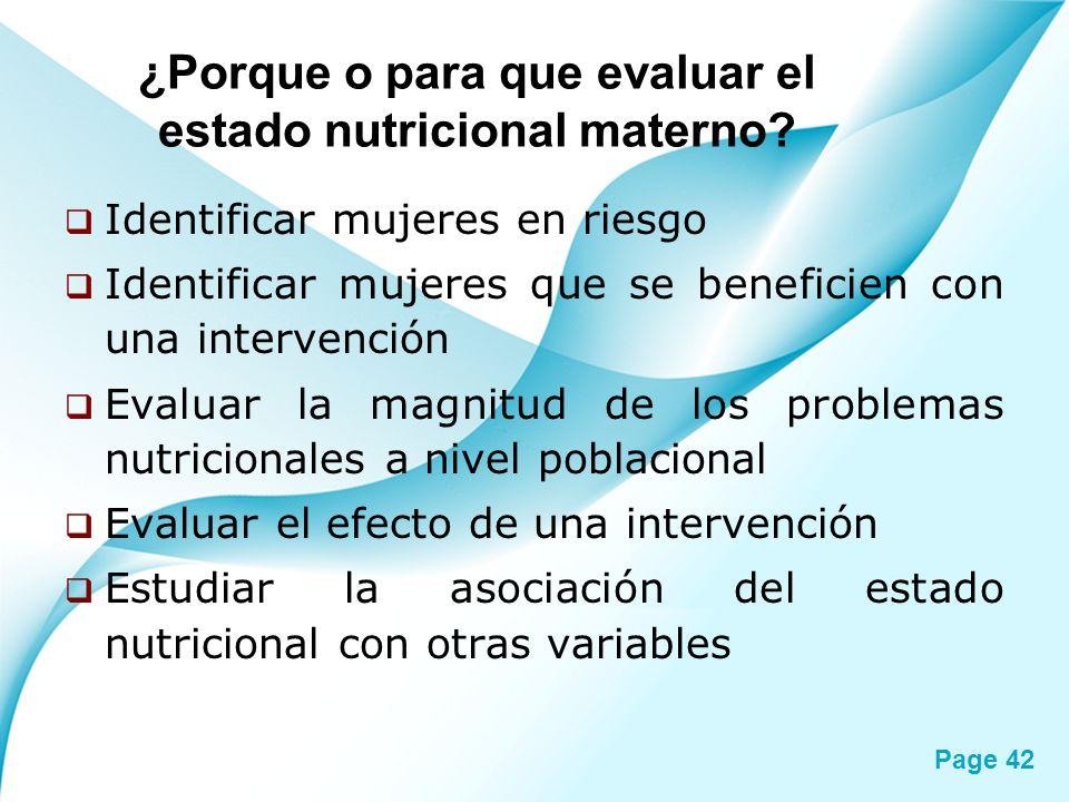 ¿Porque o para que evaluar el estado nutricional materno