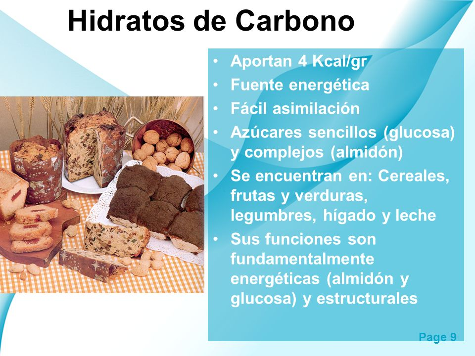 Hidratos de Carbono Aportan 4 Kcal/gr Fuente energética