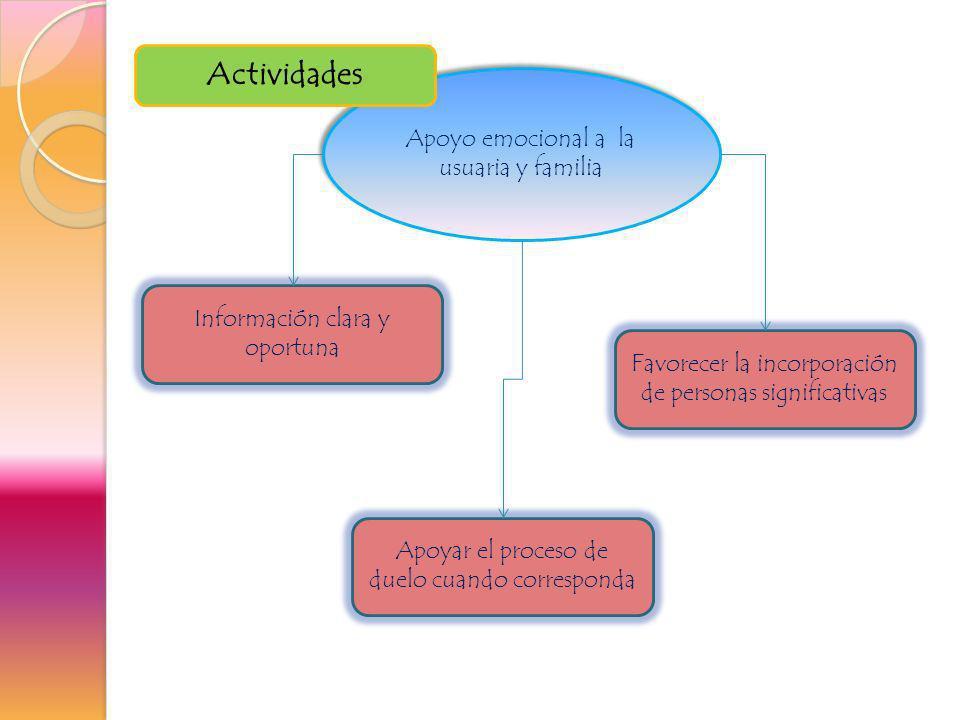 Actividades Apoyo emocional a la usuaria y familia