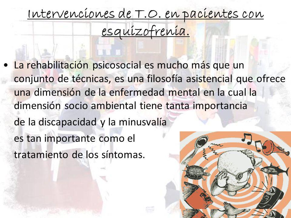 Intervenciones de T.O. en pacientes con esquizofrenia.
