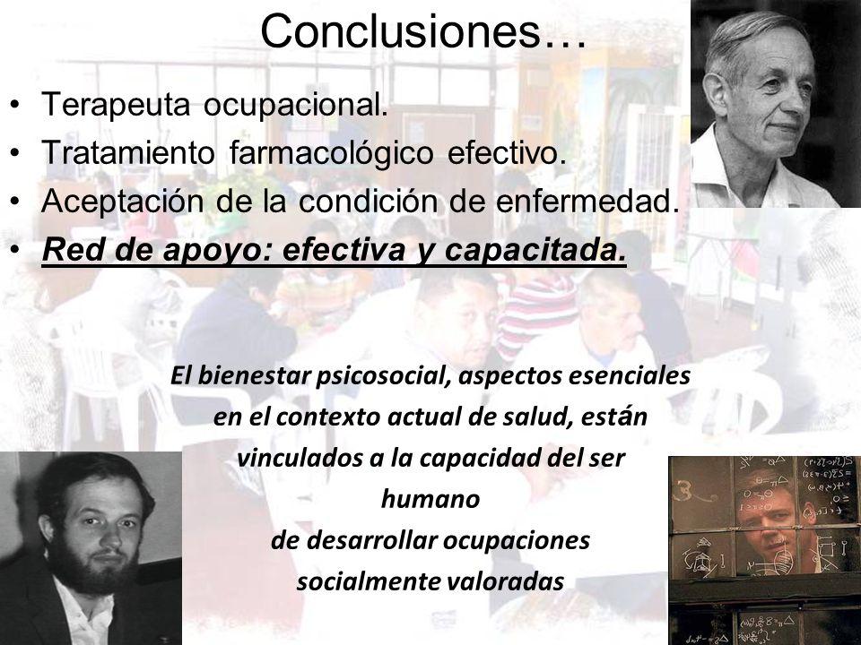 Conclusiones… Terapeuta ocupacional.