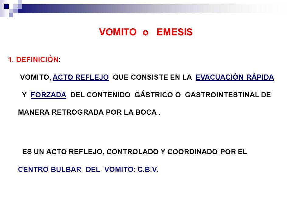 VOMITO o EMESIS 1. DEFINICIÓN: VOMITO, ACTO REFLEJO QUE CONSISTE EN LA EVACUACIÓN RÁPIDA.