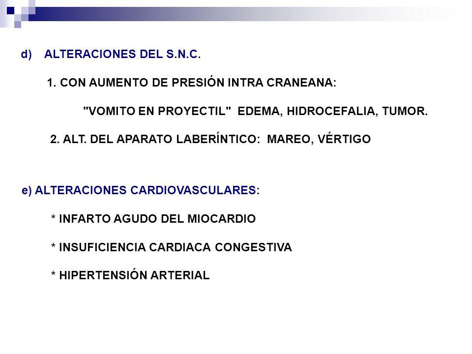 ALTERACIONES DEL S.N.C.1. CON AUMENTO DE PRESIÓN INTRA CRANEANA: VOMITO EN PROYECTIL EDEMA, HIDROCEFALIA, TUMOR.