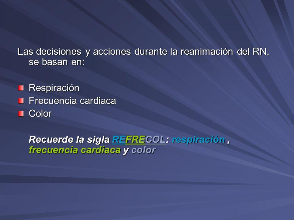 Las decisiones y acciones durante la reanimación del RN, se basan en: