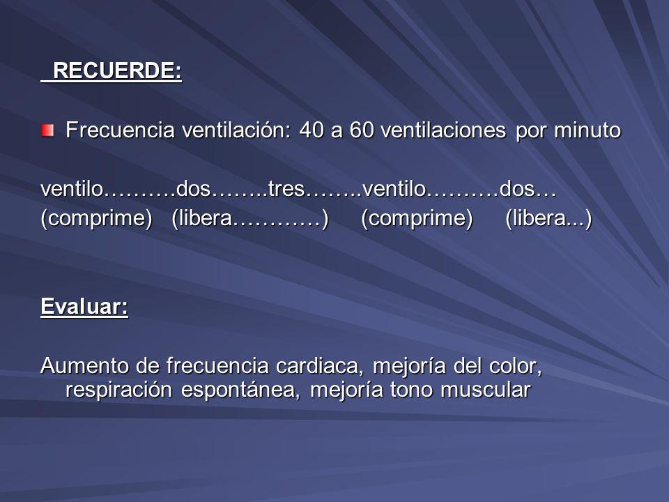 RECUERDE:Frecuencia ventilación: 40 a 60 ventilaciones por minuto. ventilo……….dos……..tres……..ventilo……….dos…