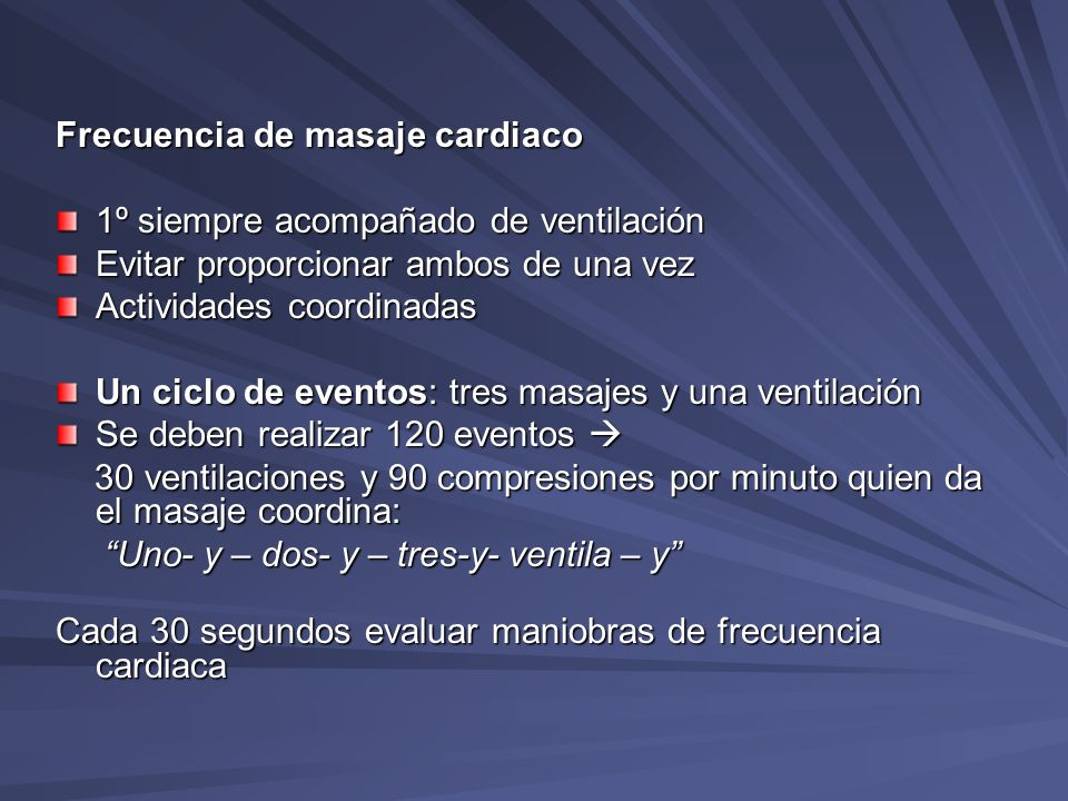 Frecuencia de masaje cardiaco