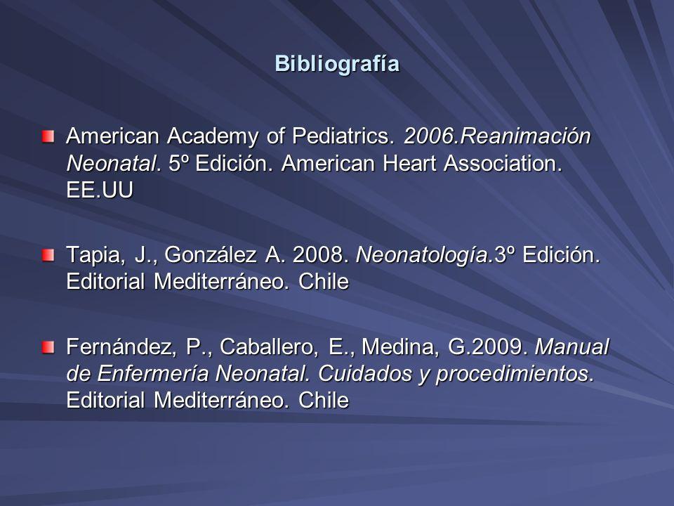 Bibliografía American Academy of Pediatrics. 2006.Reanimación Neonatal. 5º Edición. American Heart Association. EE.UU.