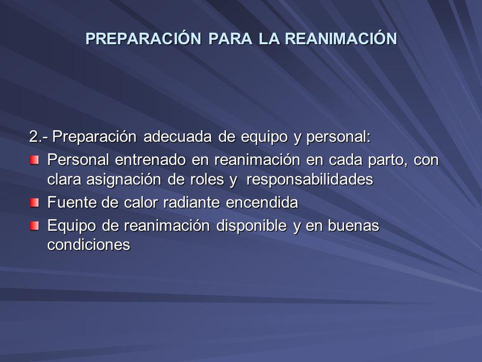PREPARACIÓN PARA LA REANIMACIÓN