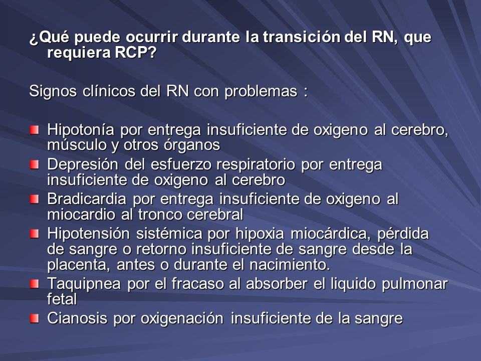 ¿Qué puede ocurrir durante la transición del RN, que requiera RCP