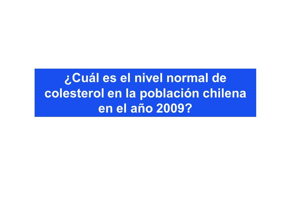 ¿Cuál es el nivel normal de colesterol en la población chilena en el año 2009