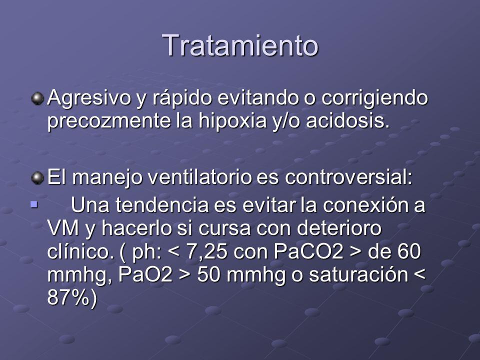 Tratamiento Agresivo y rápido evitando o corrigiendo precozmente la hipoxia y/o acidosis. El manejo ventilatorio es controversial: