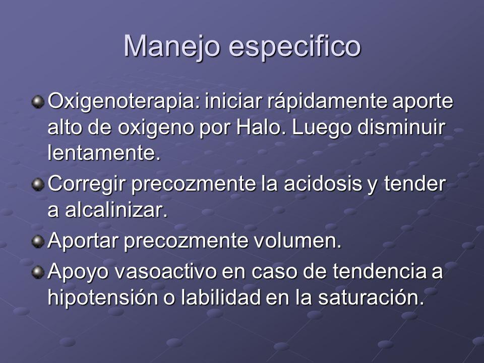 Manejo especifico Oxigenoterapia: iniciar rápidamente aporte alto de oxigeno por Halo. Luego disminuir lentamente.