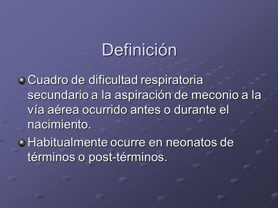 DefiniciónCuadro de dificultad respiratoria secundario a la aspiración de meconio a la vía aérea ocurrido antes o durante el nacimiento.