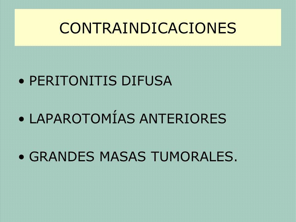 CONTRAINDICACIONES PERITONITIS DIFUSA LAPAROTOMÍAS ANTERIORES