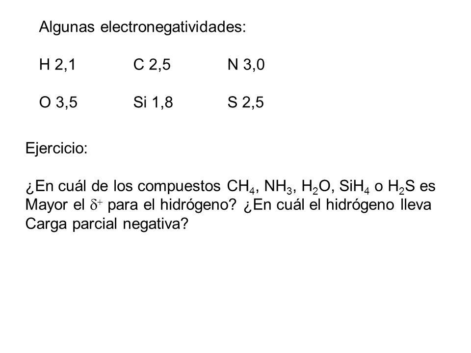 Algunas electronegatividades: