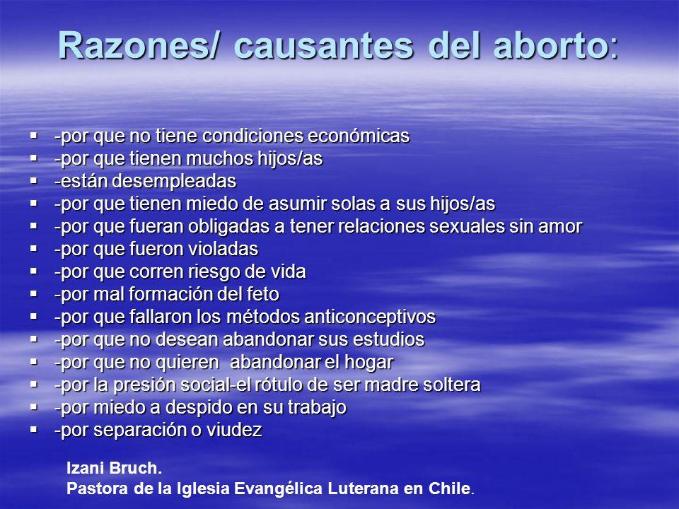 Razones/ causantes del aborto:
